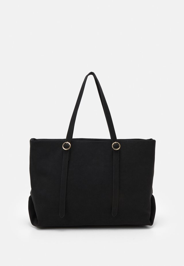 CHALKY ROUND POUCH TOTE - Shoppingväska - black
