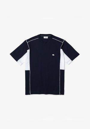 Print T-shirt - navy blau/weiß