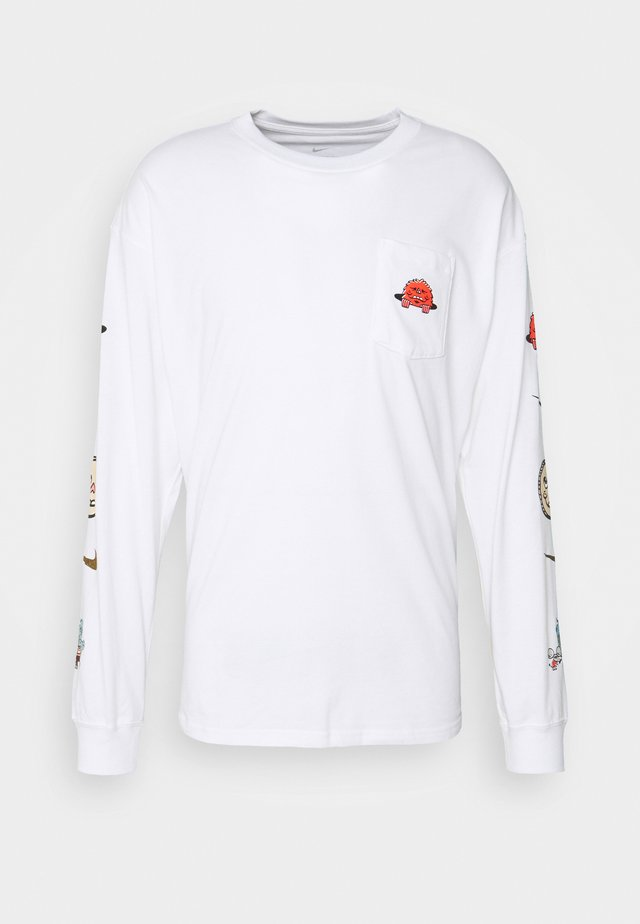 LONG SLEEVE POCKET SKATE - Long sleeved top - white/black
