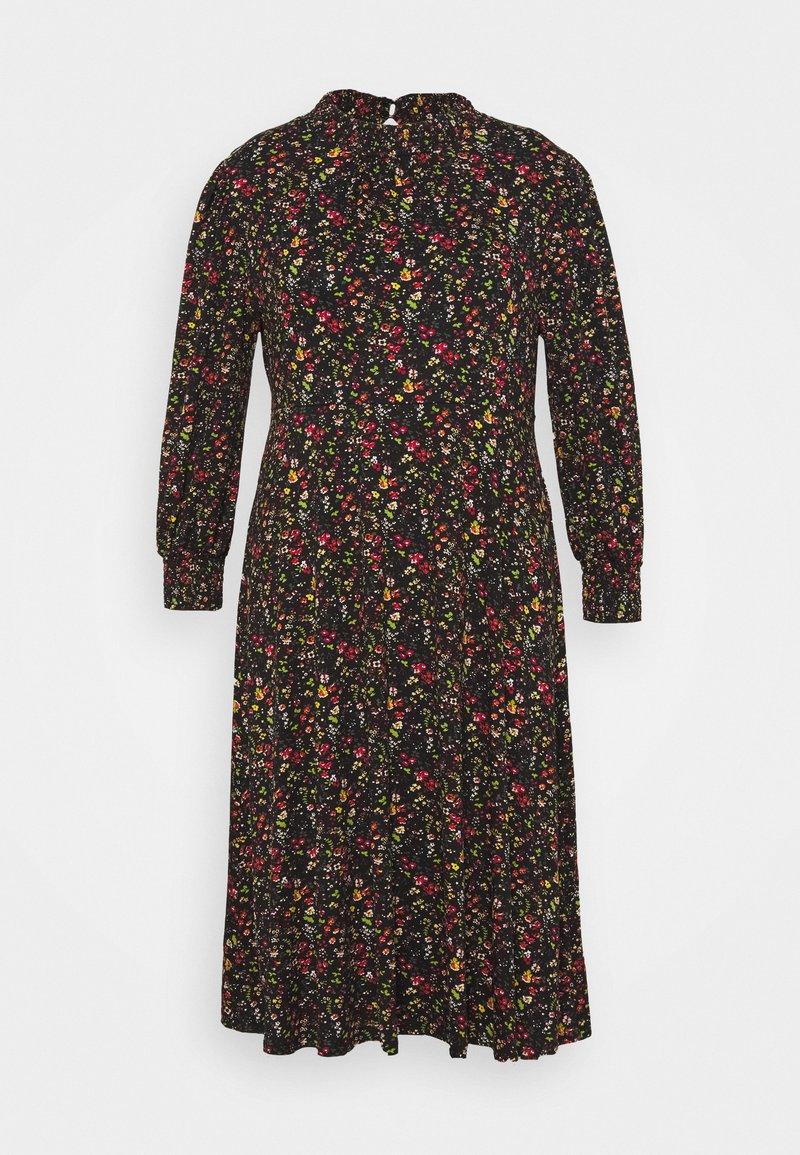Dorothy Perkins Curve - SHIRRED NECK MIDI FLORAL - Day dress - black
