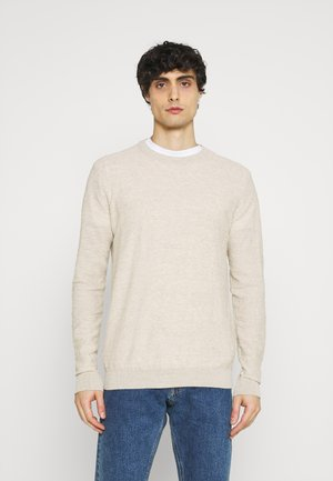 SLHBUDDY CREW NECK - Stickad tröja - light sand melange