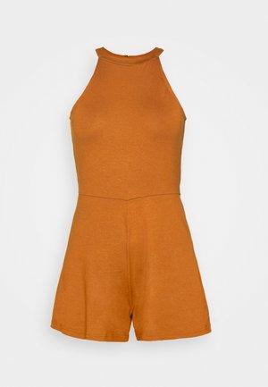 Halterneck sleeveless playsuit - Jumpsuit - dark brown