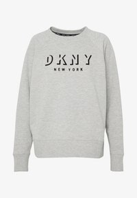 DKNY - PULLOVER FLOCKED SHADOW LOGO - Mikina - pearl grey heather - 4