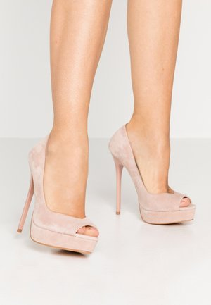 LEATHER - Peeptoe heels - nude