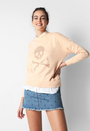 WITH SKULL LOGO AND STUDS - Sweatshirt - mandarine