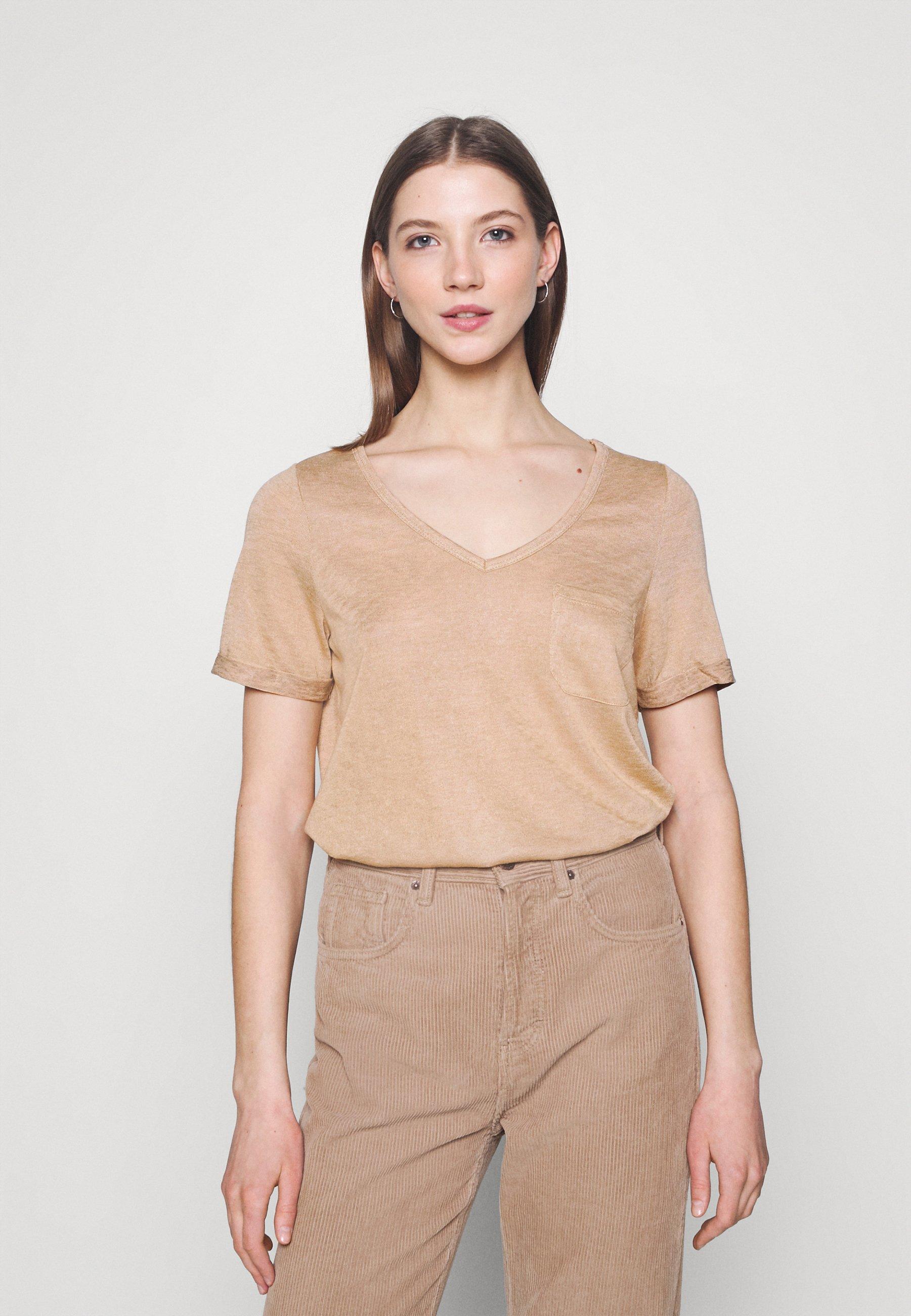 Women OBJTESSI SLUB V NECK SEASONAL - Basic T-shirt
