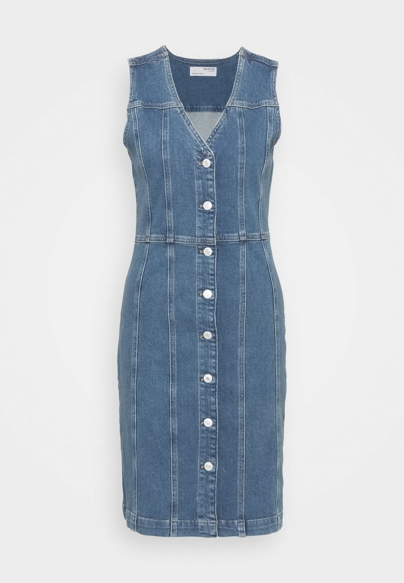 Selected Femme - SLFLAUREL DRESS - Farkkumekko - medium blue denim