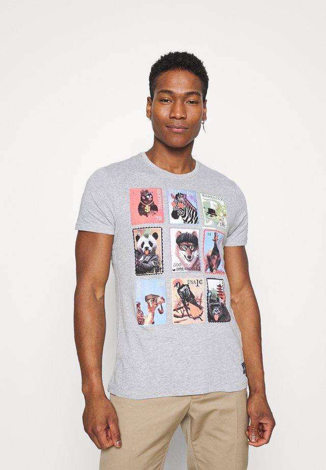 STAMPS - T-shirt print - light grey marl