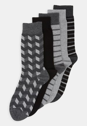 5 PACK - Ponožky - black/mottled grey