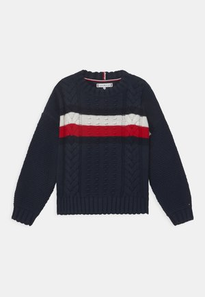 GLOBAL STRIPE CABLE CREW - Jumper - twilight navy