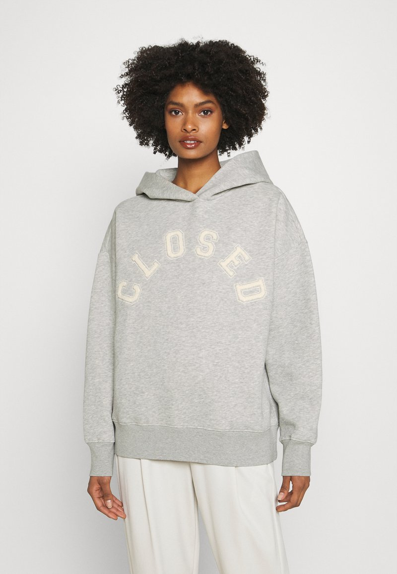 CLOSED - HOODIE WITH WHITE LOGO ACROSS CHEST - Sweatshirt - grey