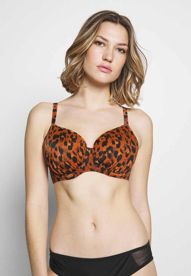 ROAR INSTINCT IDOL MOULDED - Góra od bikini - cognac/black