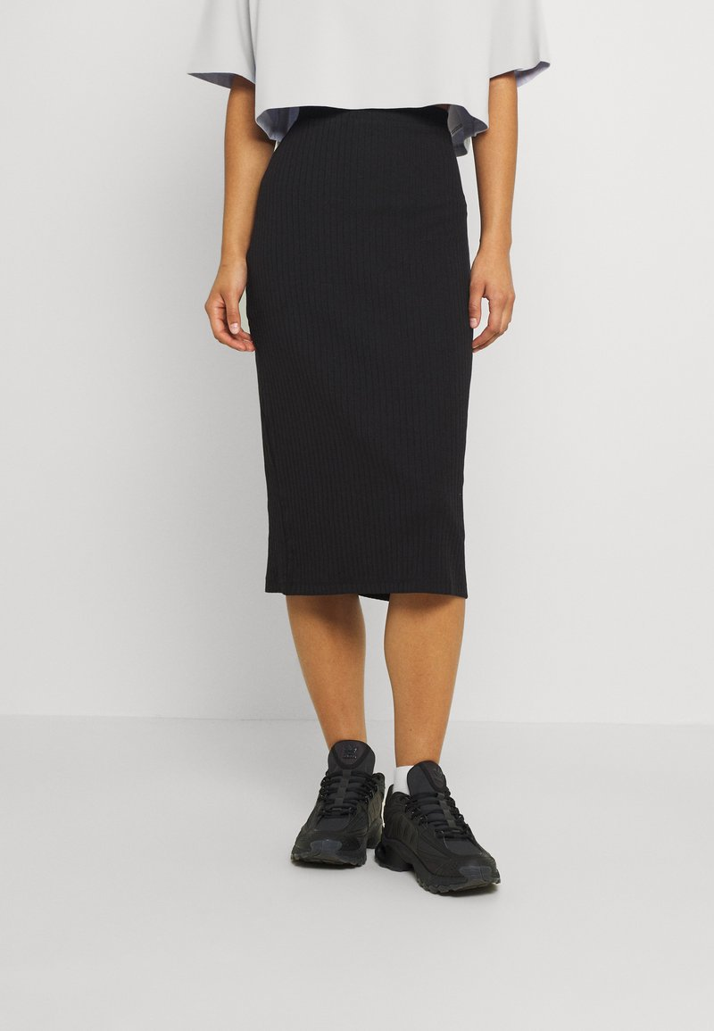 Even&Odd - Basic ribbed midi high waisted skirt - Pouzdrová sukně - black