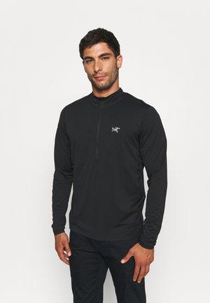 CORMAC ZIP NECK MEN - Long sleeved top - black