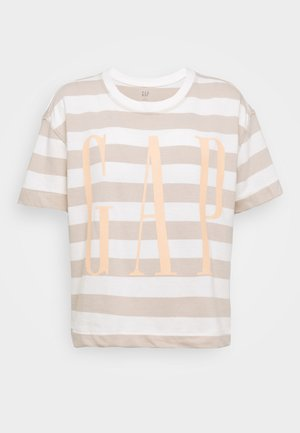BOXY TEE - T-shirts med print - nude/off-white