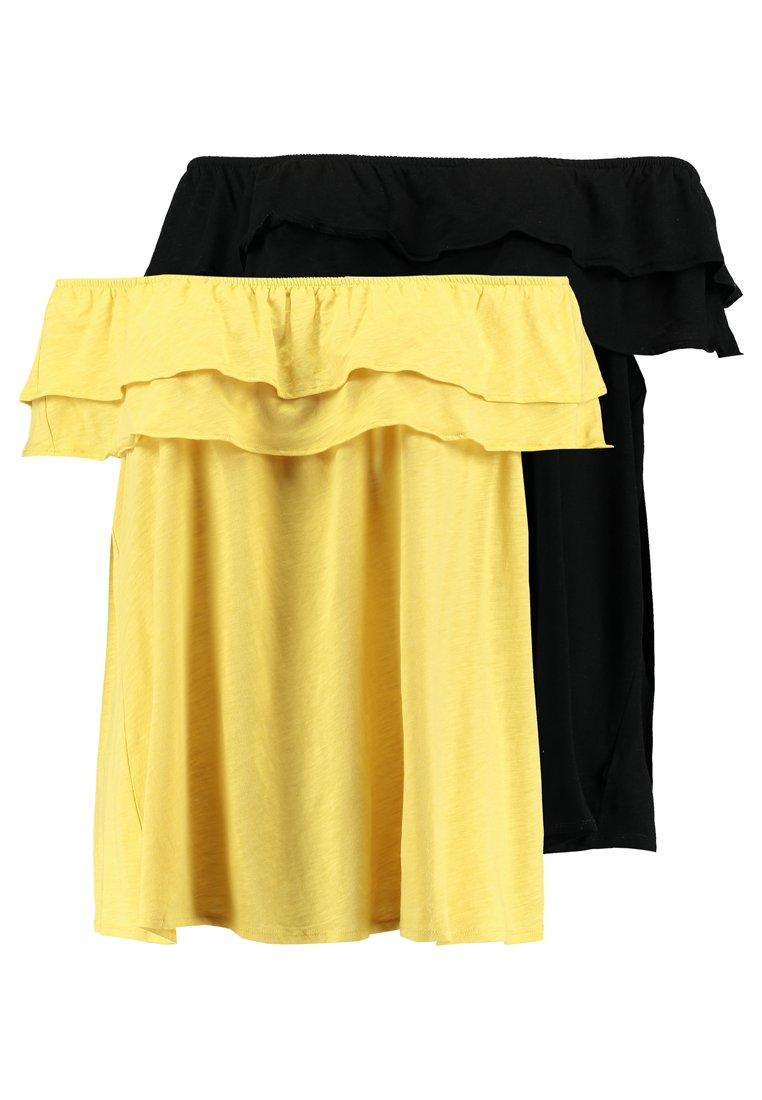 New Look Curves - DOUBLE RUFFLE BARDOT 2 PACK  - Print T-shirt - black/mustard