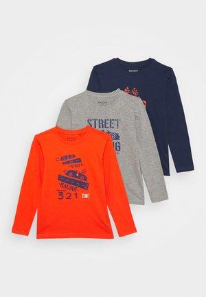 KIDS BOYS 3 PACK - Long sleeved top - orange/dunkelblau/rauch melange