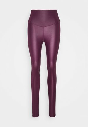 WETLOOK HIGHWAIST LEGGING - Tights - burgundy