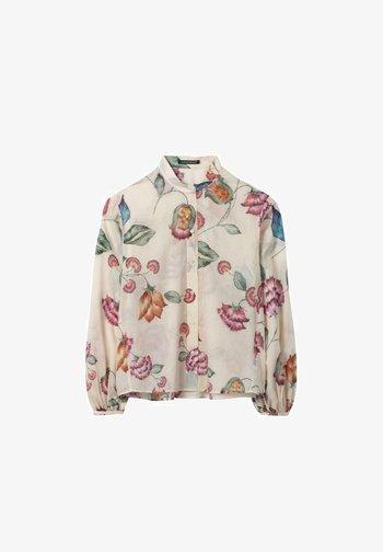 Button-down blouse - beige gemustert