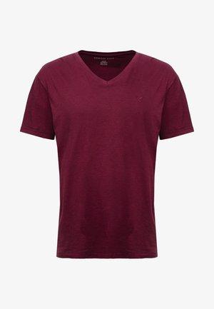 SLUB VNECK - Basic T-shirt - burgundy