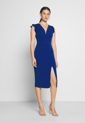 FRILL SLEEVE V PLUNGE NECK DRESS - Vestido de cóctel - cobalt blue
