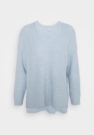TEXTURED VEE NECK - Jumper - light blue