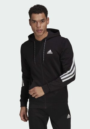ADIDAS SPORTSWEAR 3-STRIPES TAPE FULL-ZIP SWEATSHIRT - Zip-up hoodie - black