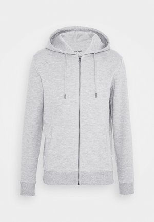JJEBASIC ZIP HOOD - Sudadera con cremallera - light grey melange