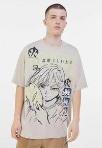 Bershka - Print T-shirt - beige - 0