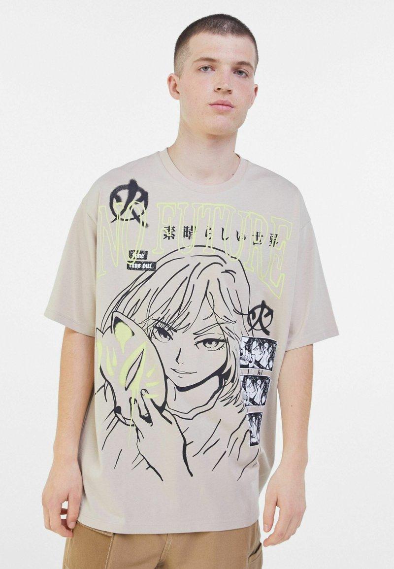 Bershka - Print T-shirt - beige