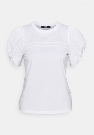 PUFFY SLEEVE EMBROIDERY - Basic T-shirt - white