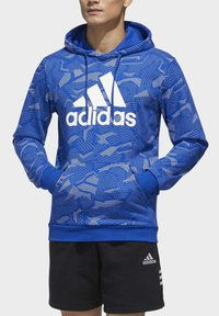 adidas Performance - ESSENTIALS ALLOVER PRINT HOODIE - Hoodie - blue - 4