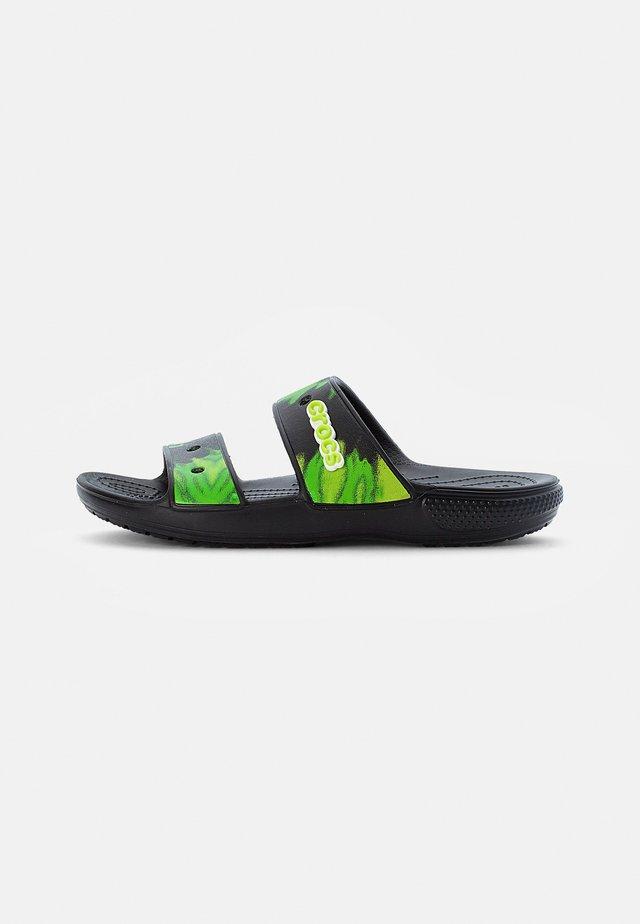 CLASSIC CROCS TIEDYE - Sandały kąpielowe - black/lime punch