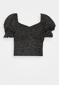 Miss Selfridge - SPOT CROP MILKMAID BLOUSE - Print T-shirt - black - 4