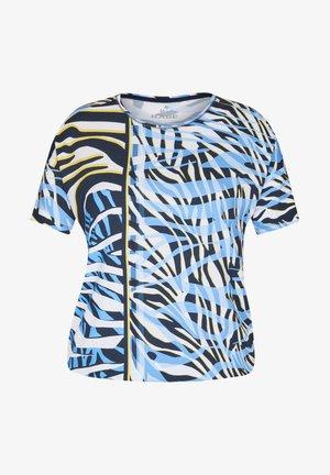 MIT EXOTISCHEM MUSTER UND üBERSCHNITTENEN SCHULTERN - Print T-shirt - dunkelblau