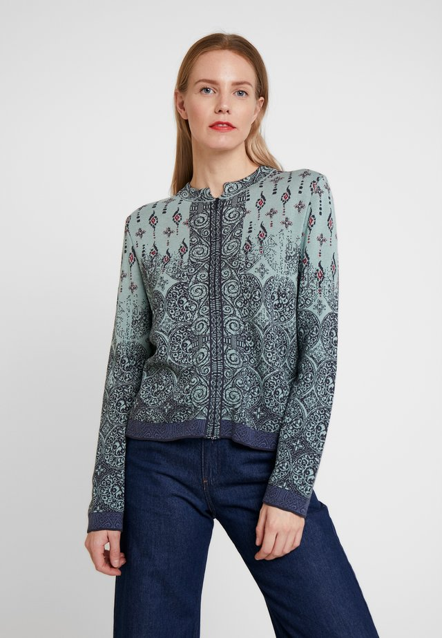 BUCKLED CARDIGAN - Cardigan - aqua