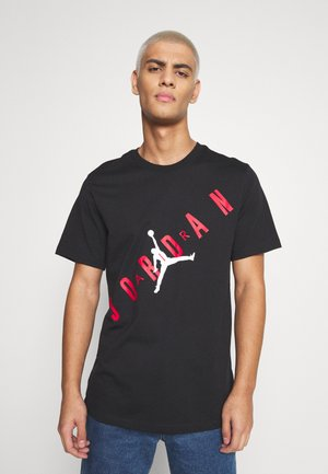 STRETCH CREW - Print T-shirt - black/gym red/white