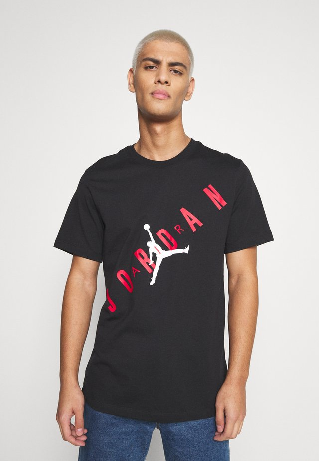 STRETCH CREW - Camiseta estampada - black/gym red/white