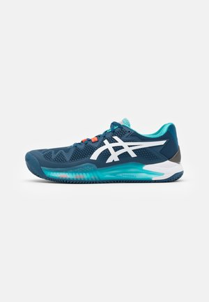 GEL-RESOLUTION 8 CLAY - Clay court tennis shoes - mako blue/white