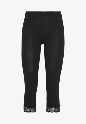 Capri Leggings with Lace - Leggings -  black