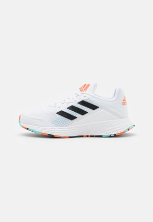 DURAMO UNISEX - Neutral running shoes - footwear white/core black/pulse aqua