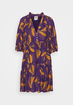 BOROGODO BANANAS DRESS - Košilové šaty - purple/yellow
