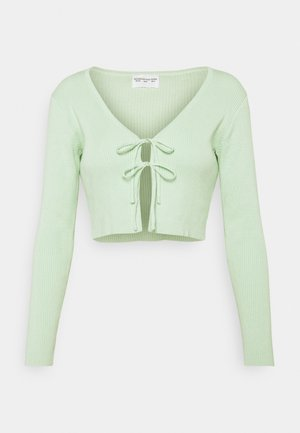 MAYA CARDIGAN WITH SKINNY FIT SLEEVES AND HIGH ROUND NECKLINE - Cardigan - mint