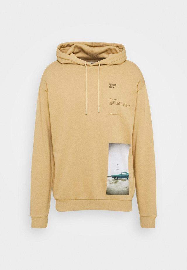 HOODY WITH PRINT - Bluza z kapturem - lark beige