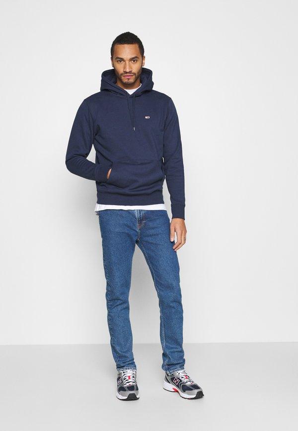 Tommy Jeans REGULAR FLEECE HOODIE - Bluza z kapturem - twilight navy/granatowy Odzież Męska NEDN