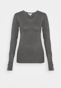 Dorothy Perkins Tall - PEARL BUTTON CUFF V NECK JUMPER - Maglione - grey marl - 0