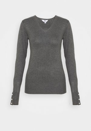 PEARL BUTTON CUFF V NECK JUMPER - Sweter - grey marl
