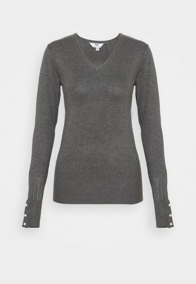 PEARL BUTTON CUFF V NECK JUMPER - Jumper - grey marl