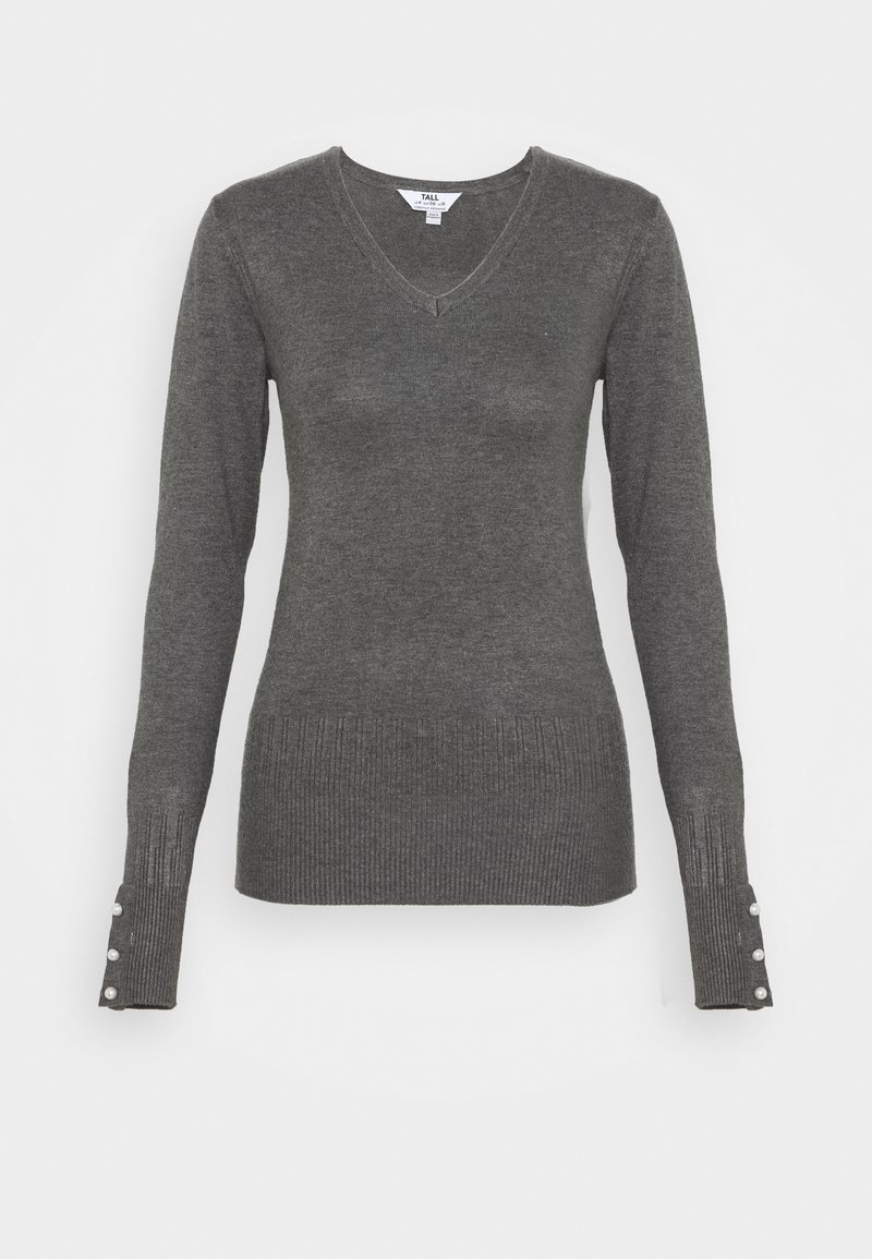 Dorothy Perkins Tall - PEARL BUTTON CUFF V NECK JUMPER - Maglione - grey marl