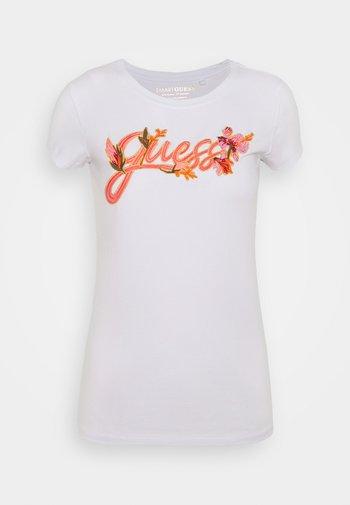 TROPICAL EMBROIDERY - Camiseta estampada - pure white